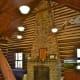 Inside Moore cabin showing fireplace