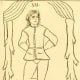 """Tarot trump card design from the Court de Gébelin essay Du Jeu des Tarots."""