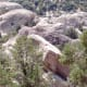 Looking down from the middle trail at rock groupings below.