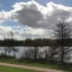 The view over the lake from the towpath. The path in the forefront is the lake path.