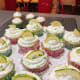 Beautiful decorated lime and coconut cupcakes.