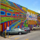 Side view of mural at 420 Travis Street in Houston