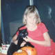 This was taken on Halloween in 1985. Sarah must have been 12, but emotionally she was still a little girl.  By this time we had adopted Moses the Kitten, who grew into a cat before we knew it.