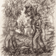 Pencil drawings of patrolling Dutch Soldiers on Java 1946-1949 by Synco Schram de Jong