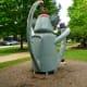 """Back view of """"Sock Monkey"""" sculpture by Joe Barrington in True South sculpture exhibit Houston"""
