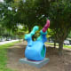 """Sculpture titled """"Bunny"""" by Tara Conley in True South sculpture exhibit Houston"""
