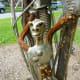 "Detail on closeup of ""Constant Gardener"" sculpture by Mark Bradford in True Sculpture exhibit Houston"
