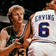 Larry Bird anticipating the ball movement.