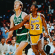 Larry Bird positioning for a rebound.