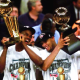 David Robinson with teammate Tim Duncan winning NBA championship.