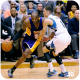 Kobe Bryant makes his move against Zack LaVine.