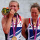 Britain's Katherine Copeland and Sophie Hosking in floods of tears after winning gold in the lightweight double sculls.