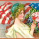 Free vintage post cards for Memorial Day: Woman with American flag and flowers