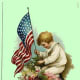 Free vintage post cards for Veterans Day: Child with American flag