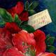 """vintage card designs: red peonies vintage birthday card """"Birthday Greetings"""""""