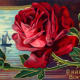 """vintage birthday card: red rose with sea and ship scene """"A Happy Birthday"""""""