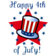 July 4th clip art: Uncle Sam hat and stars