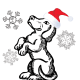 Free Christmas coloring page: dog catching snowflakes
