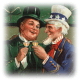 Uncle Sam and Irish gentleman toasting to St. Patrick's Day