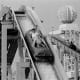 The Log Flume, seen in 1976 before the ball finial of the Big Dipper was replaced by a teardrop shape.
