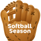 "Softball clip art: softball glove and ""Softball Season"" text"
