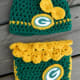 Great Gift Idea - Baby - Hand Made Football Fan - baby hat and matching diaper hand crocheted in green and gold Green Bay Packers