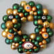 Green Bay Packers Hand Crafted Wreath in Classic Green and Gold Glass Ornaments