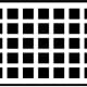 This simple black and while checked board appears to have dots flashing and moving across the grid