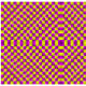 Optical illusion of moving square which ripple and move around a centre area as you move your eyes
