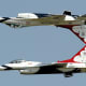 The USAF Thunderbirds perform the calypso pass at Kogalniceanu airport, near Constanta, east of Bucharest, Romania on June 7, 2011.