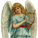 Vintage Christmas angel with harp