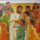 One of the beautifully displayed portraits revealed during the tour  which portrayed Jesus in the midst of children.