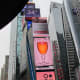 A shot of a glass of wine that was displayed on the big screen during our walk through Times Square.
