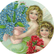 Two vintage angels with red roses and forget-me-nots