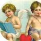 Two vintage Valentine's Day cherubs clip art