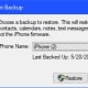 """Select the backup to restore from, and then click """"Restore."""""""