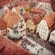 Red roofed buildings of Rothenburg seen from city wall.