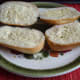 Margarine spread bread rolls.