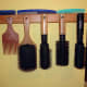 The Bespoke Handcrafted Hairbrush Rack in situ