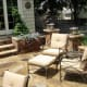 Outdoor stone patio with lounge furniture