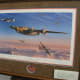 Painting of B-24s under attack by jet fighters, Manassas Airport Museum, May 2015.