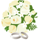 wedding bouquet clip art with two platinum wedding bands