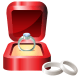 Platinum engagement ring in red velvet box with platinum wedding rings