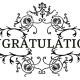 Congratulations black scrollwork floral clip art
