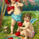 Cherubs with hearts by a stream vintage Valentine's Day card