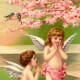 Two cherubs under a cherry tree vintage Valentine's Day card