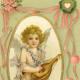 Cherub with a lute vintage Valentine postcard