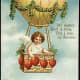"Cherub in a hot air balloon: ""With Love from Thy Valentine"" message vintage Valentine card"
