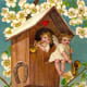 Two angels in a treehouse vintage Valentine card