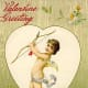 Angel with a bow and arrow vintage Valentine's Day card